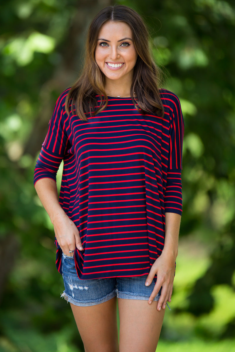 The Perfect Piko 3/4 Sleeve Tiny Stripe Top-Navy/Red