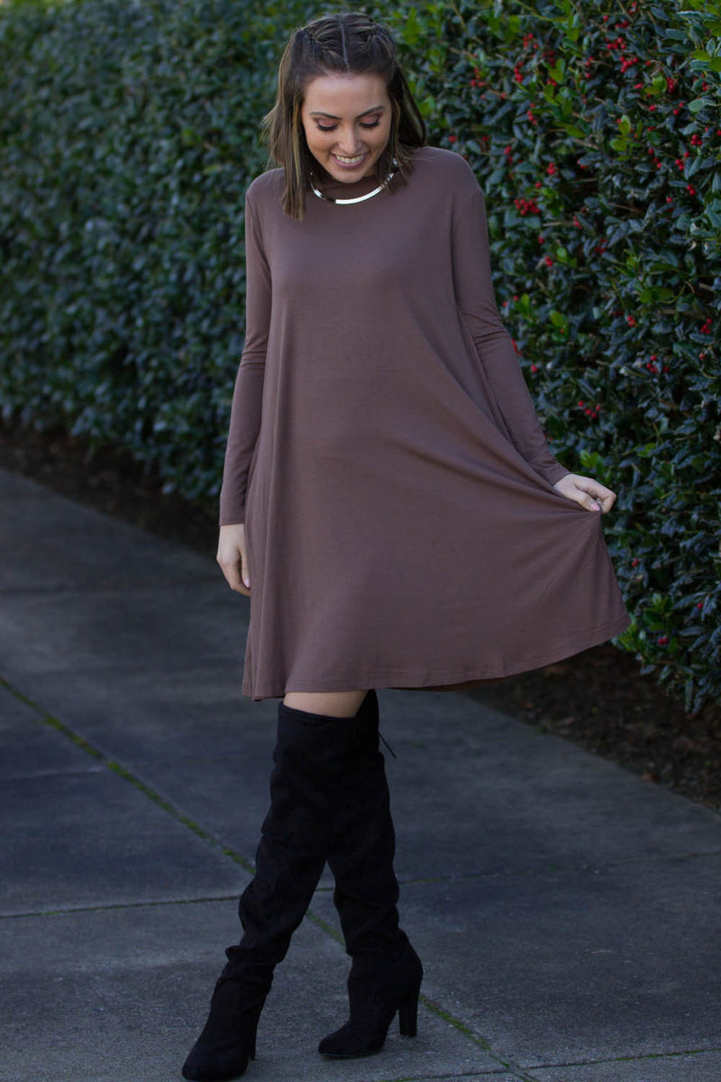 The Perfect Piko Long Sleeve Swing Dress-Brown