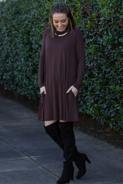 eae68b5bb342 The Perfect Piko Long Sleeve Swing Dress-Dark Brown – Simply Dixie ...