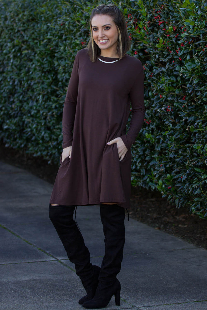 The Perfect Piko Long Sleeve Swing Dress-Dark Brown