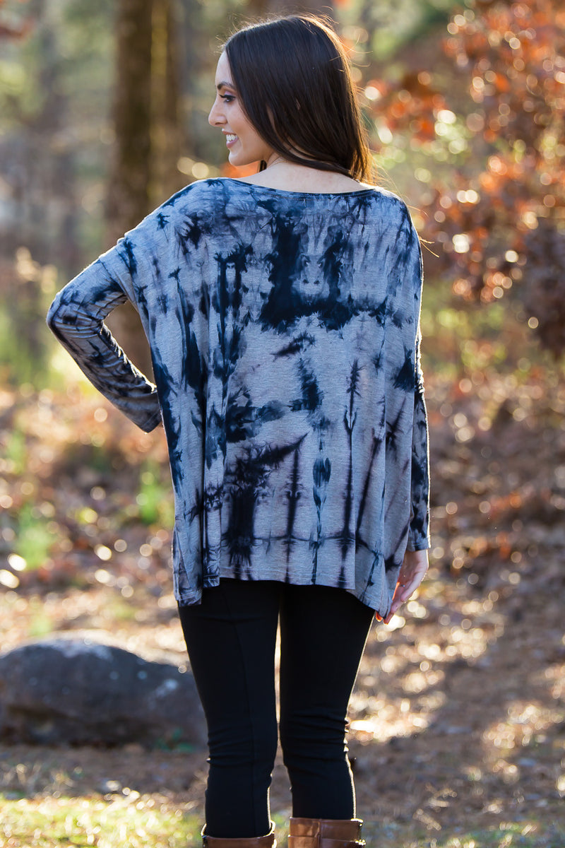 The Perfect Piko Top-Tie Dye Heather Grey