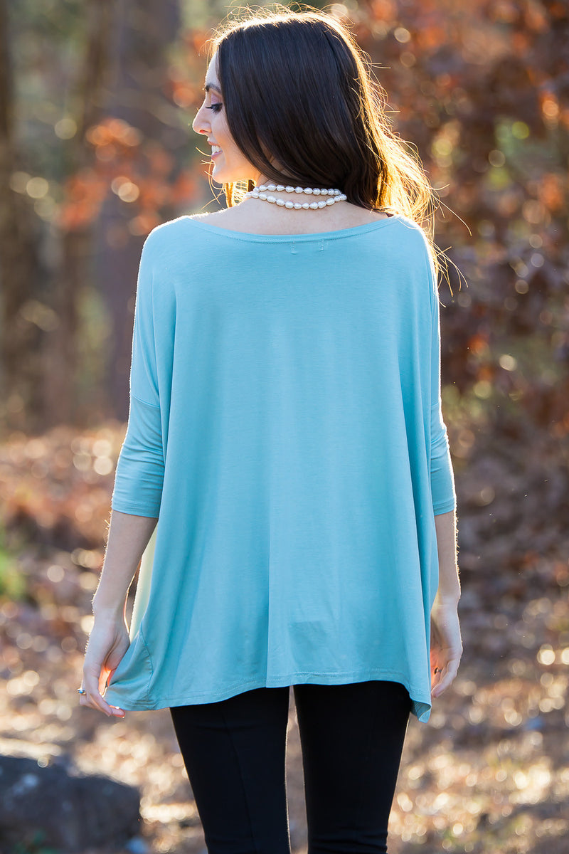 The Perfect Piko 3/4 Sleeve Top-Seafoam