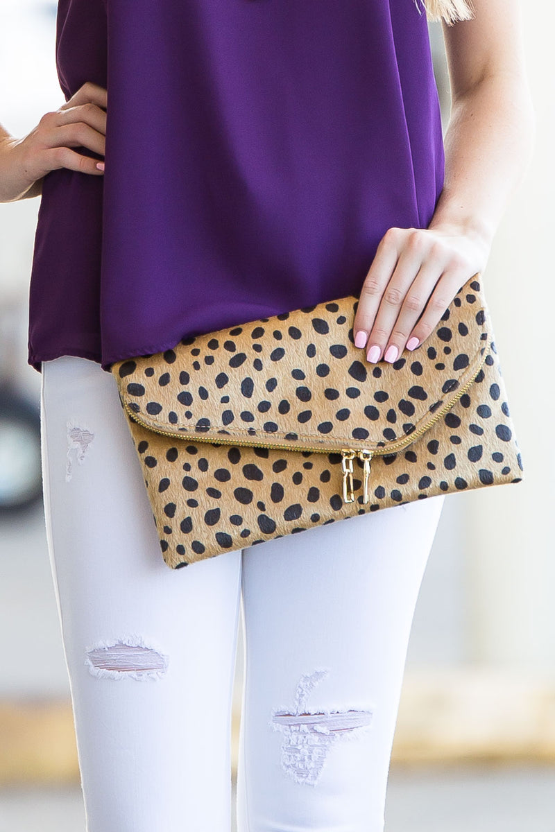 Double Zipper Asymmetrical Flap Clutch - Leopard