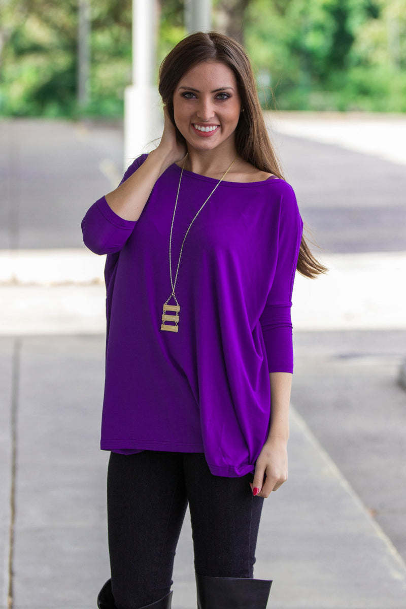 The Perfect Piko 3/4 Sleeve Top-Purple