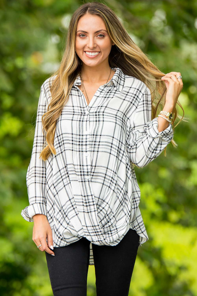 Plaid To See You Top-Black