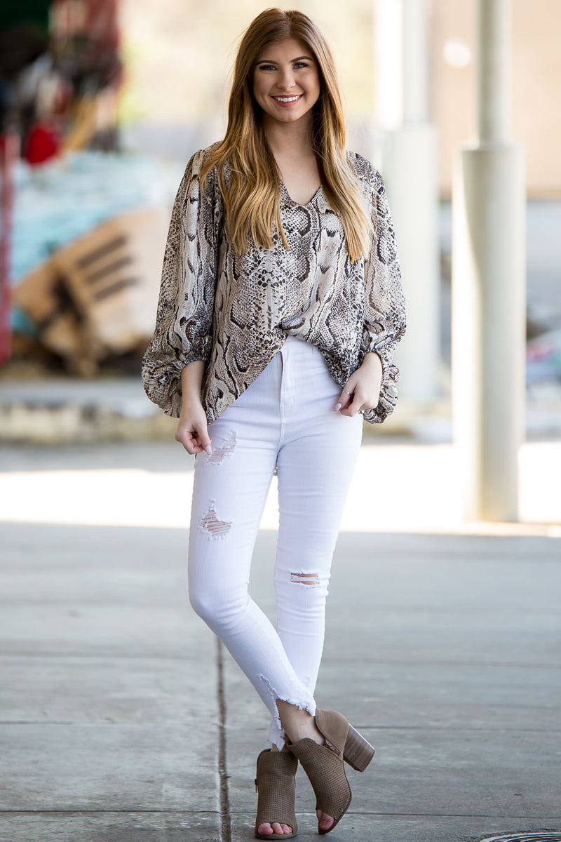 SALE - Dream On Bubble Sleeve Top- Snake Black/Taupe/Ivory