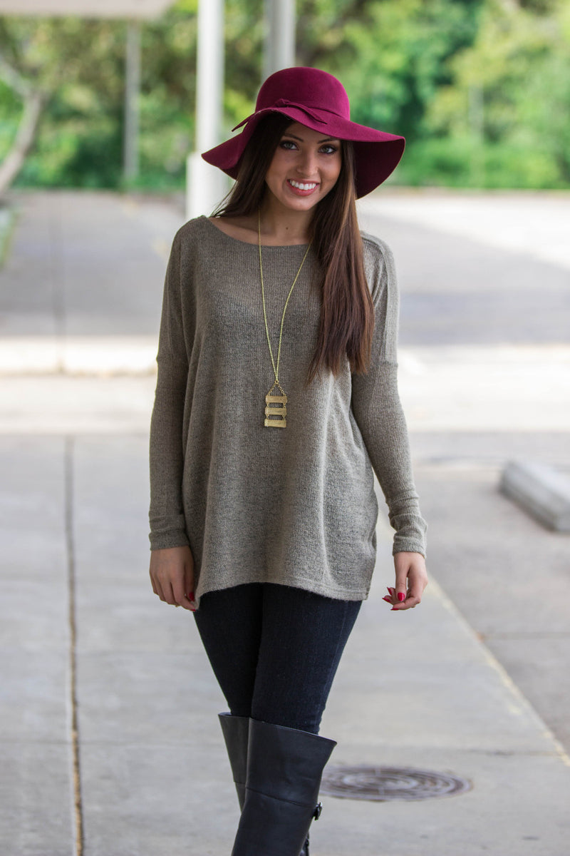 The Perfect Piko Sweater Top-Khaki