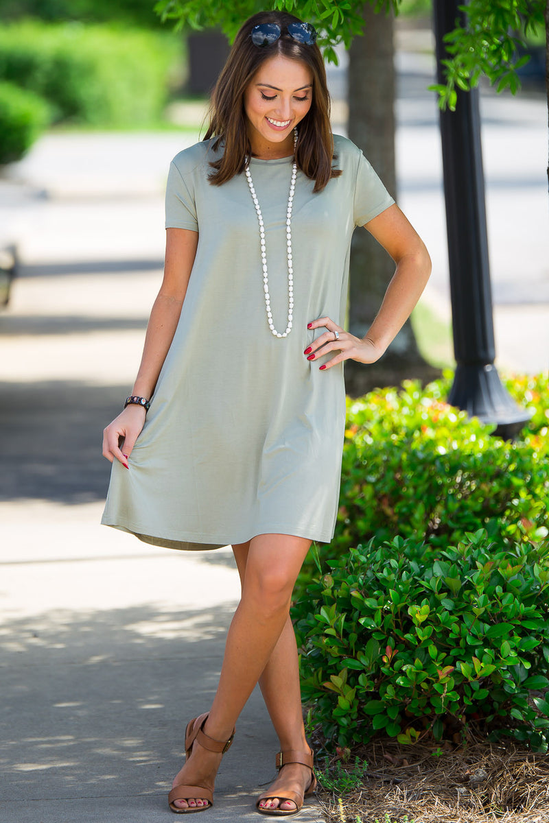 The Perfect Piko Short Sleeve Swing Dress-Washed Cypress