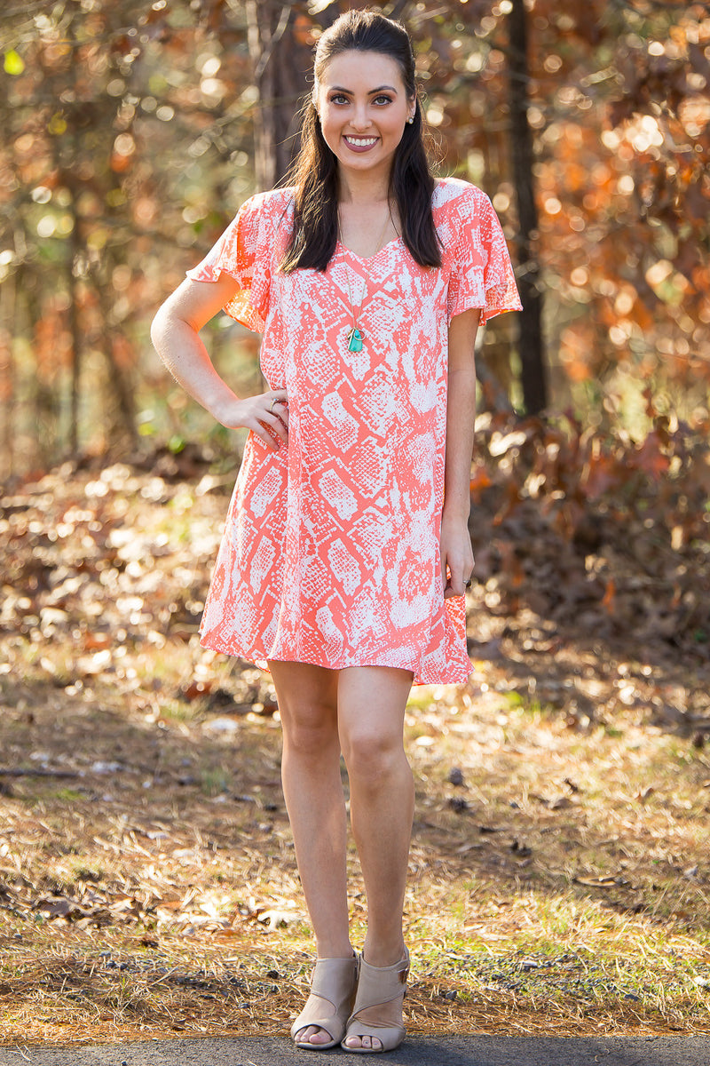 Buddy Love-Ciara Snake Print Dress-Coral