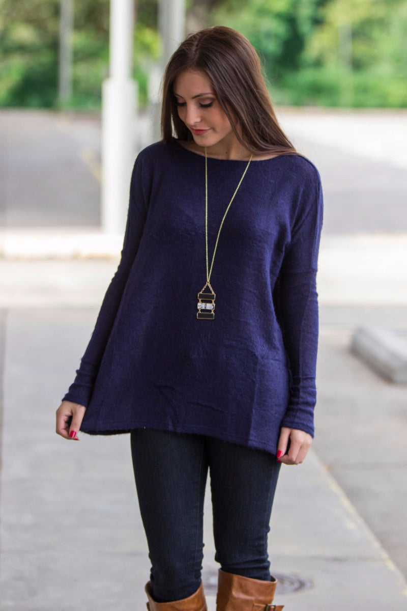 The Perfect Piko Sweater Top-Navy
