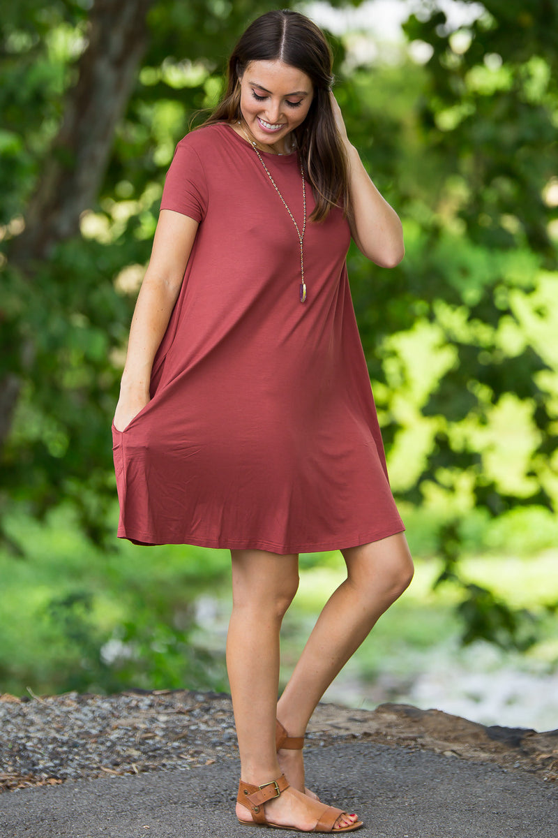 The Perfect Piko Short Sleeve Swing Dress-Rust