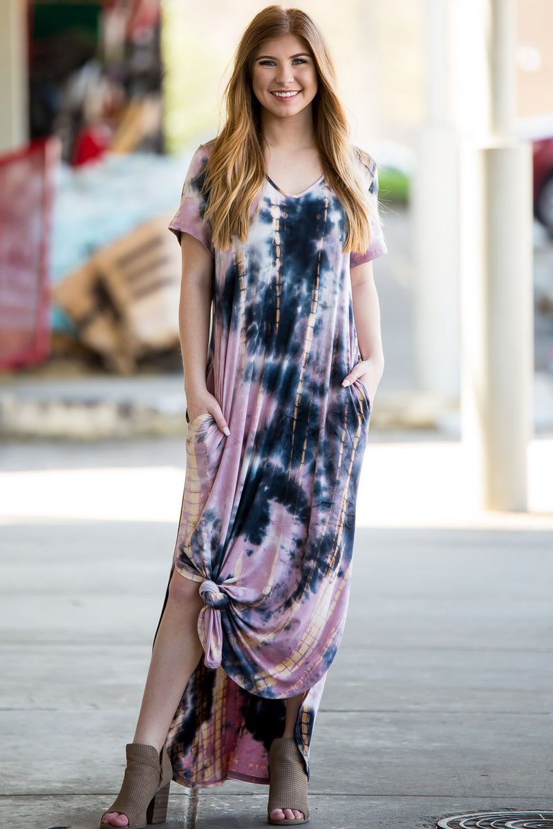 One And Only Tie-Dye Maxi Dress - Mauve