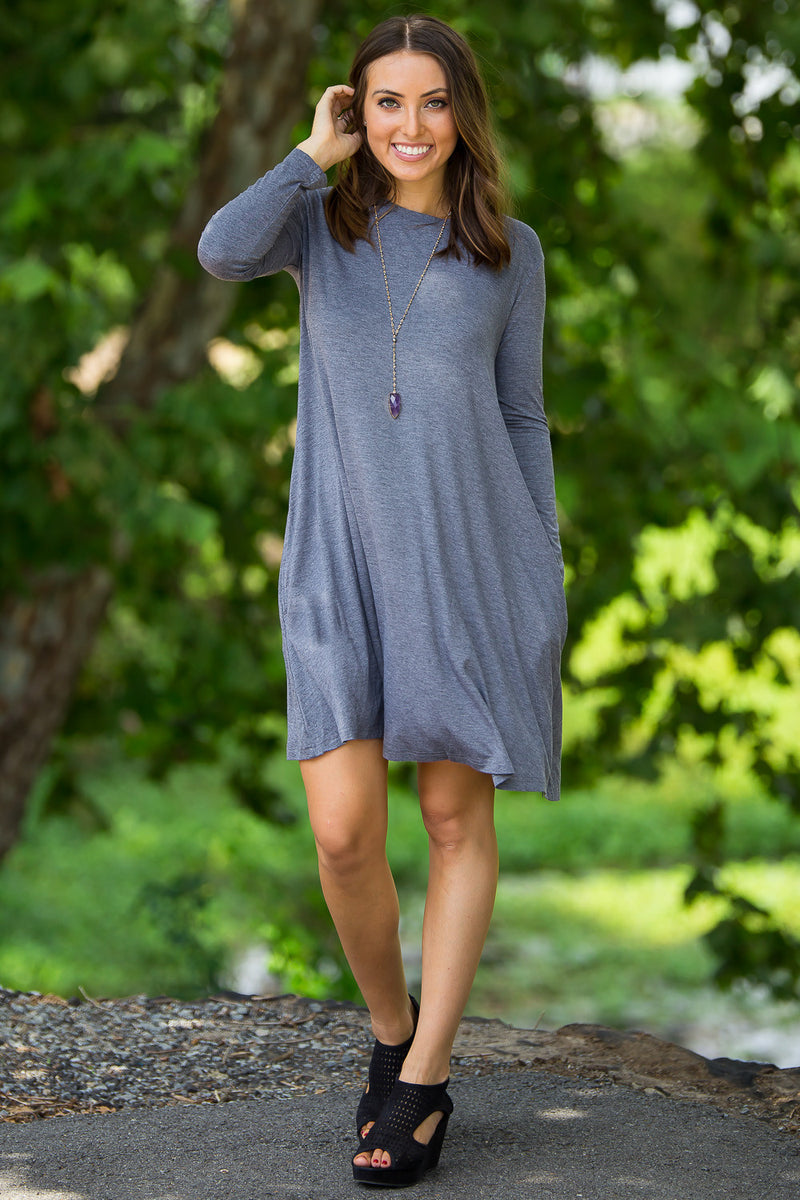 The Perfect Piko Long Sleeve Swing Dress-Heather Grey