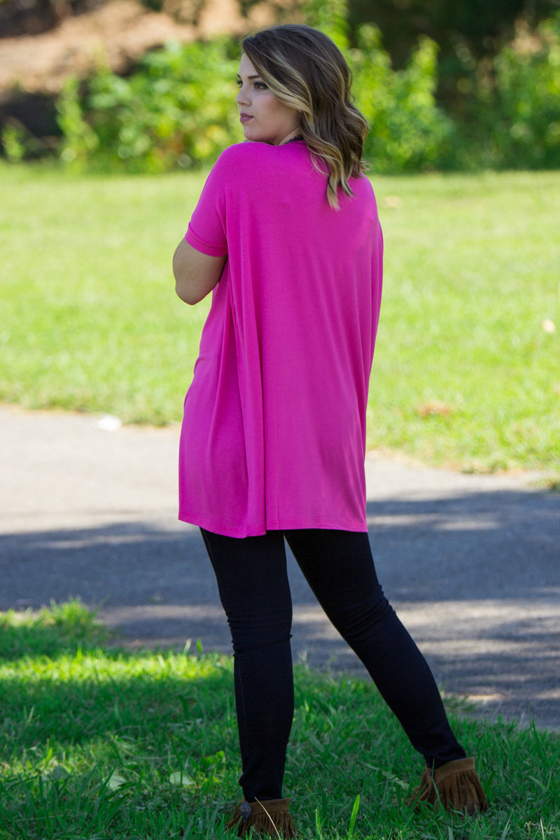 The Perfect Piko Short Sleeve V-Neck Tunic-French Rose