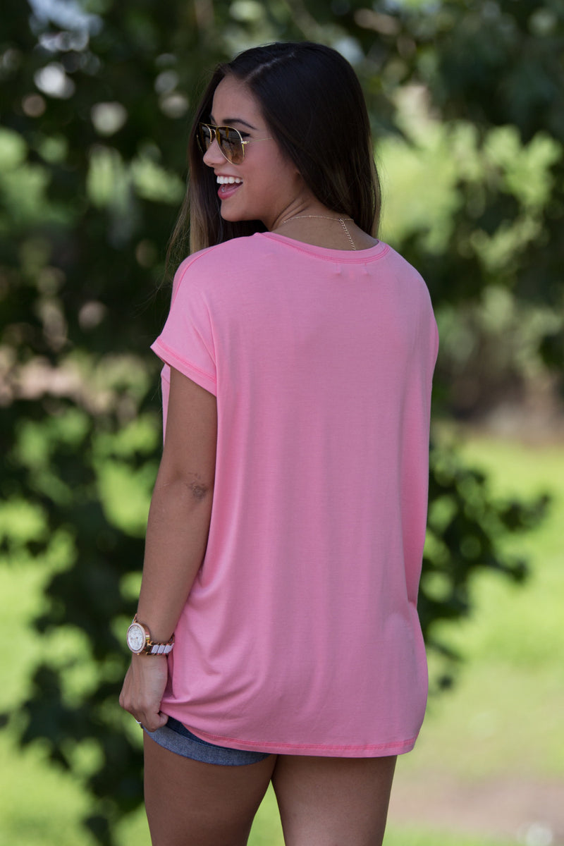 The Perfect Piko Rolled Short Sleeve Top-Strawberry Ice