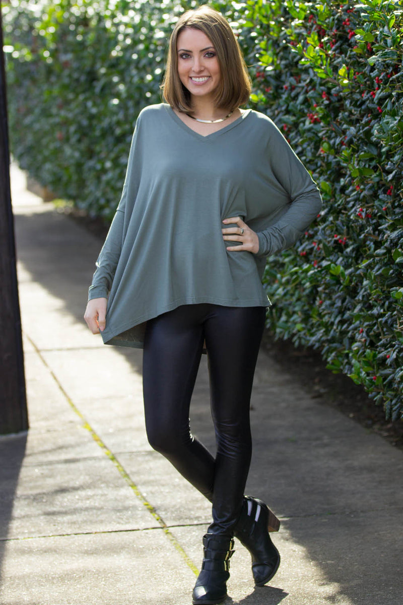 The Perfect Piko V-Neck Top-Olive