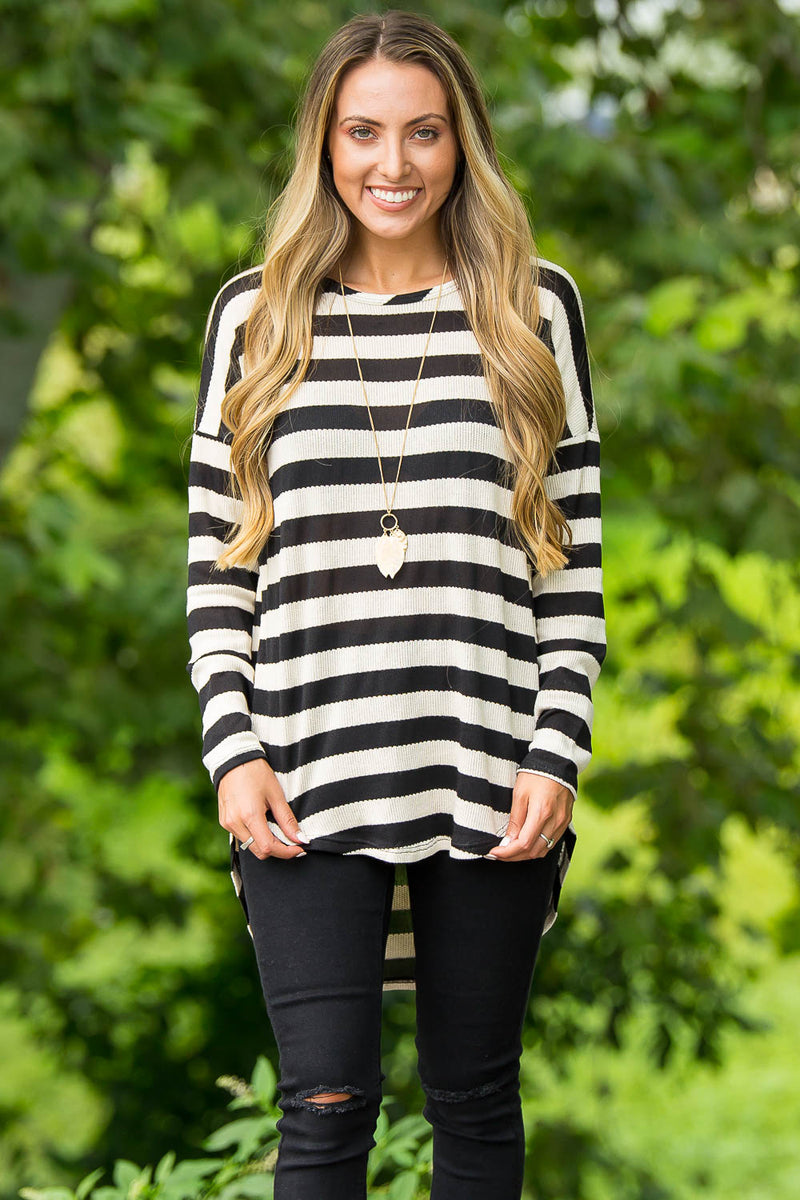Oatmeal Cookie Top-Black/Ivory