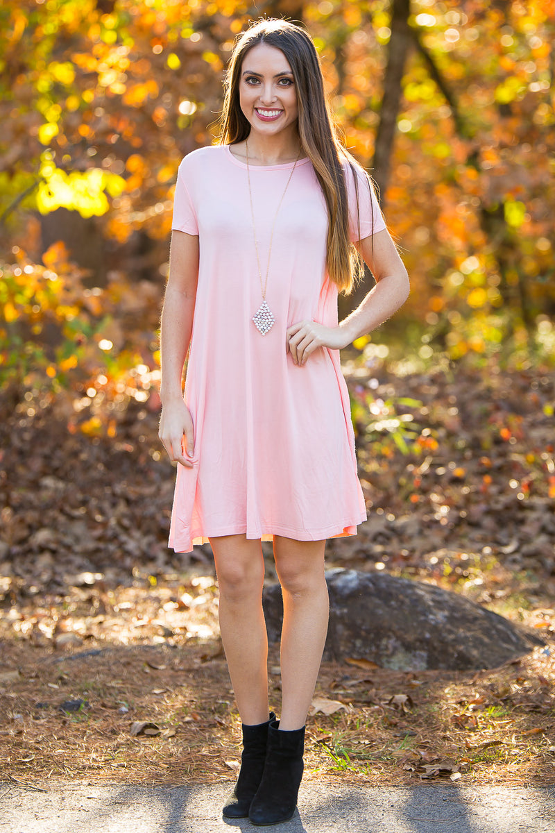 The Perfect Piko Short Sleeve Swing Dress-Peach