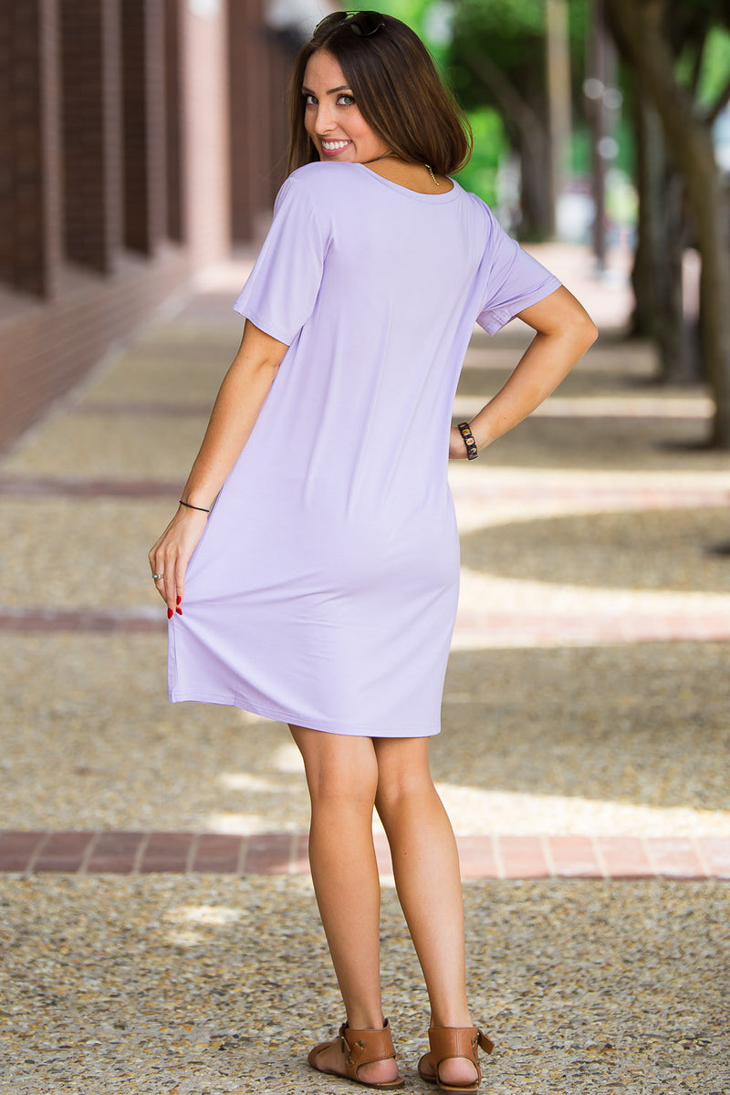 The Perfect Piko Short Sleeve Dress-Lilac