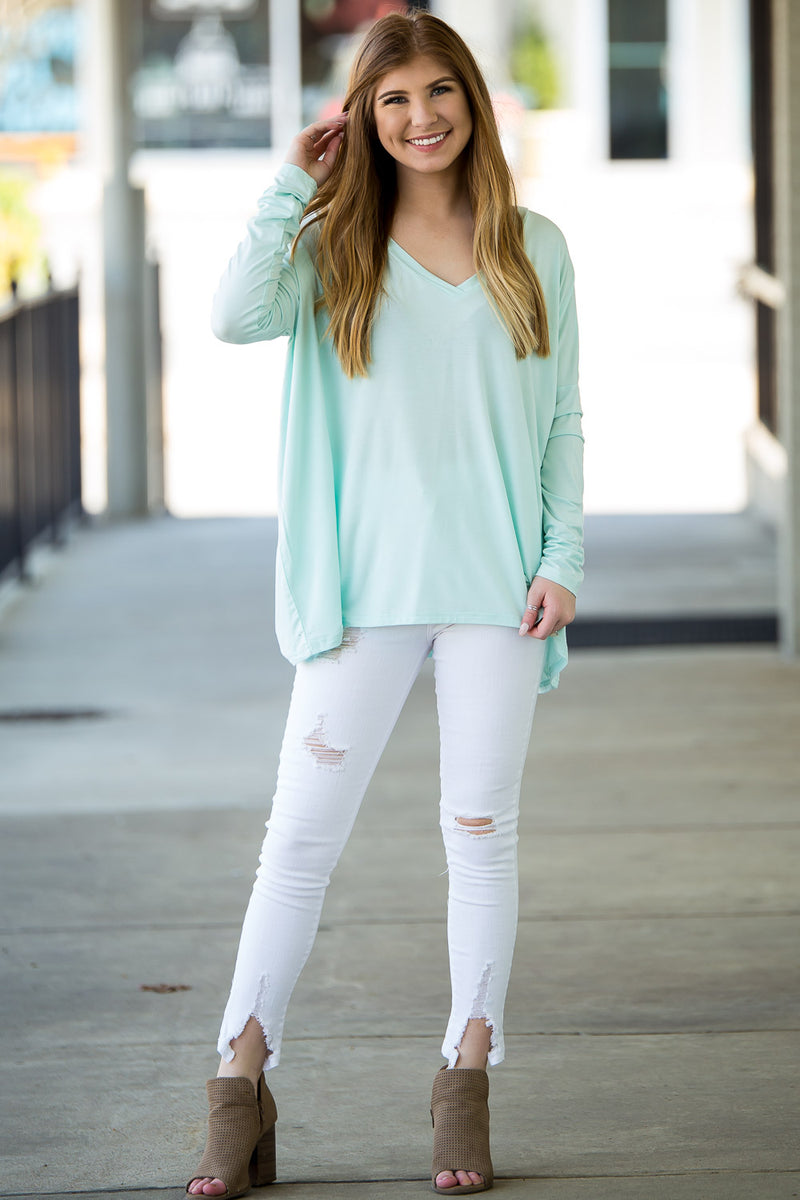 The Perfect Piko V-Neck Top-Mint