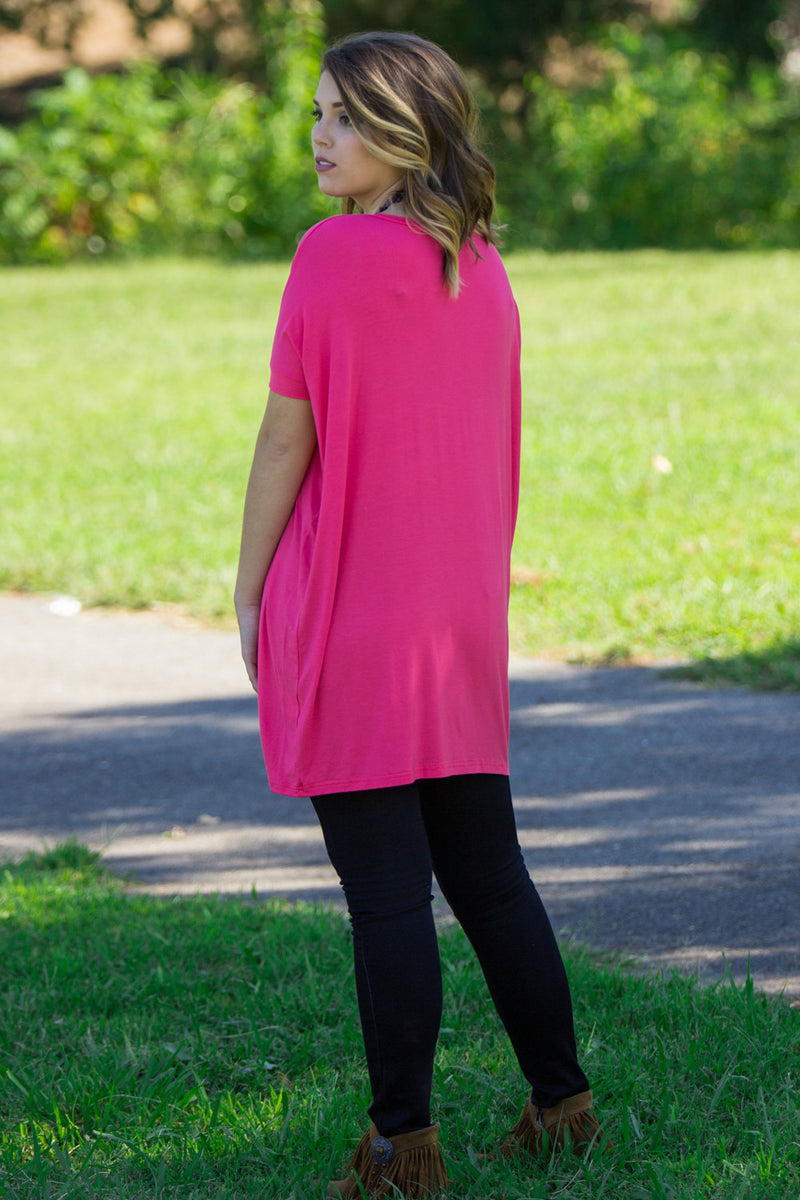 The Perfect Piko Short Sleeve V-Neck Tunic-Hot Pink