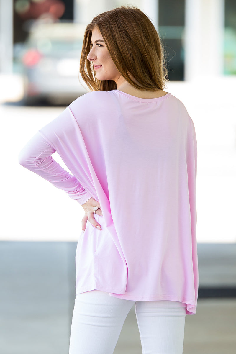 The Perfect Piko V-Neck Top-Light Pink