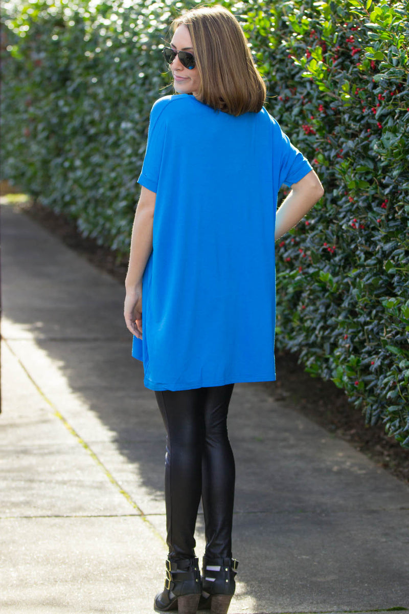 The Perfect Piko Short Sleeve V-Neck Tunic-Dazzling Blue