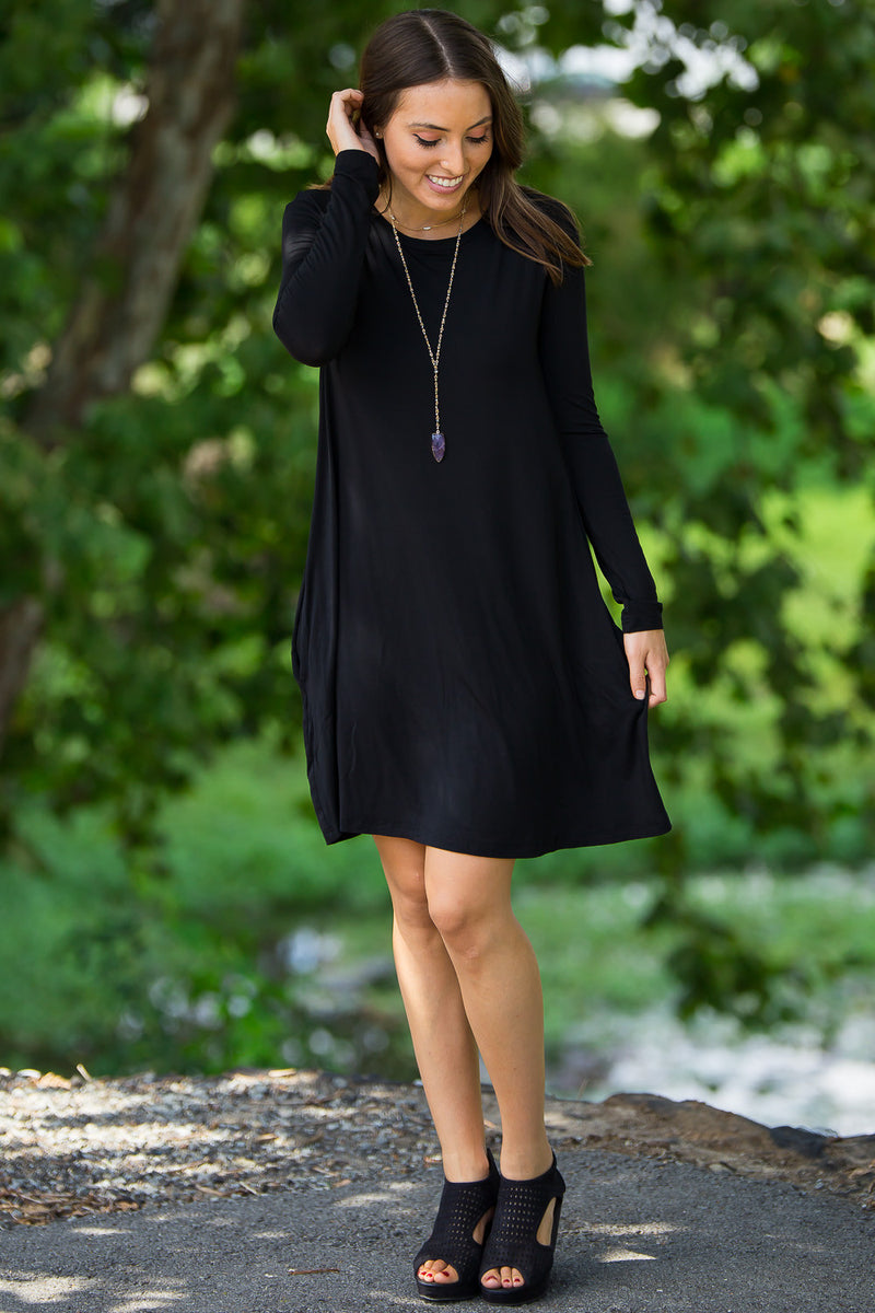 The Perfect Piko Long Sleeve Swing Dress-Black
