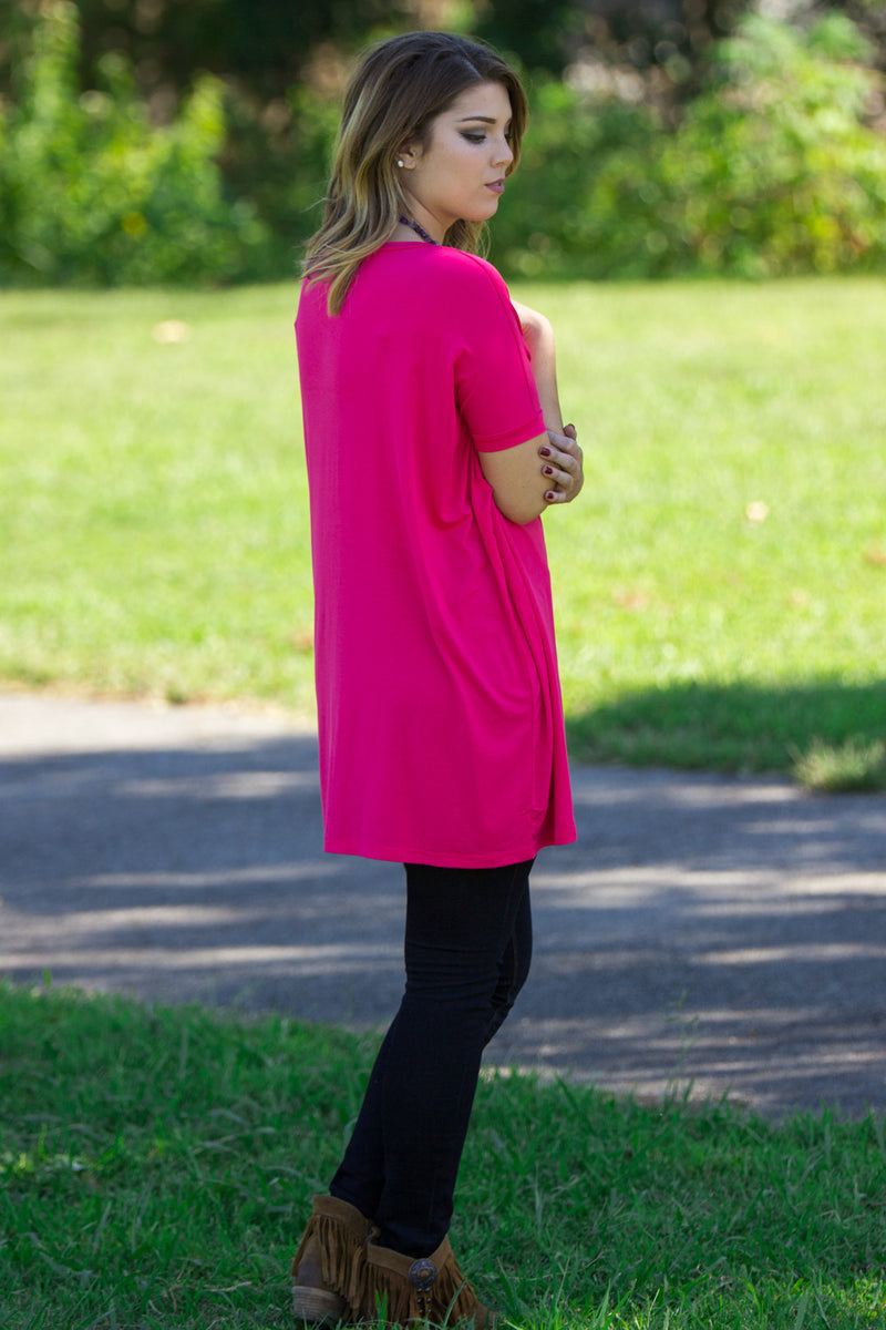 The Perfect Piko Short Sleeve V-Neck Tunic-Fuchsia