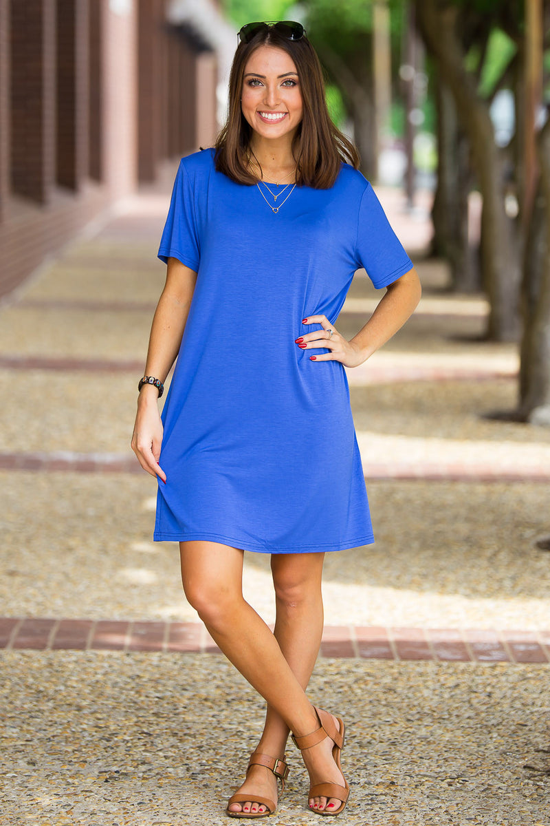 The Perfect Piko Short Sleeve Dress-Royal Blue