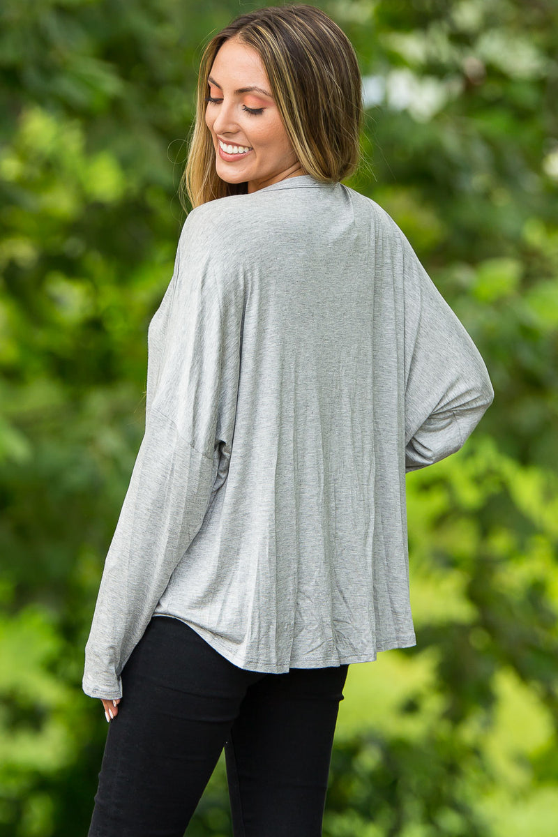 Another Day Long Sleeve Top-Heather Grey