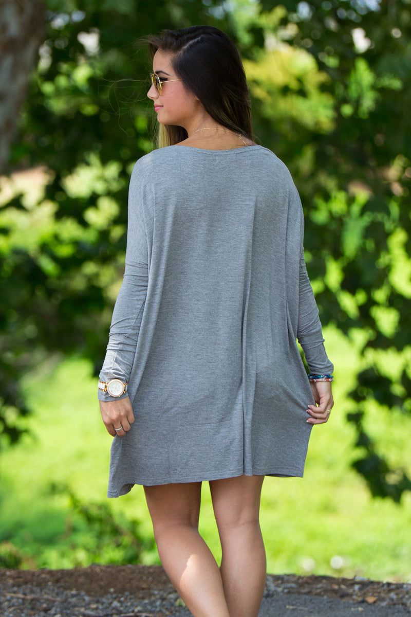 The Perfect Piko Tunic Top-Heather Grey