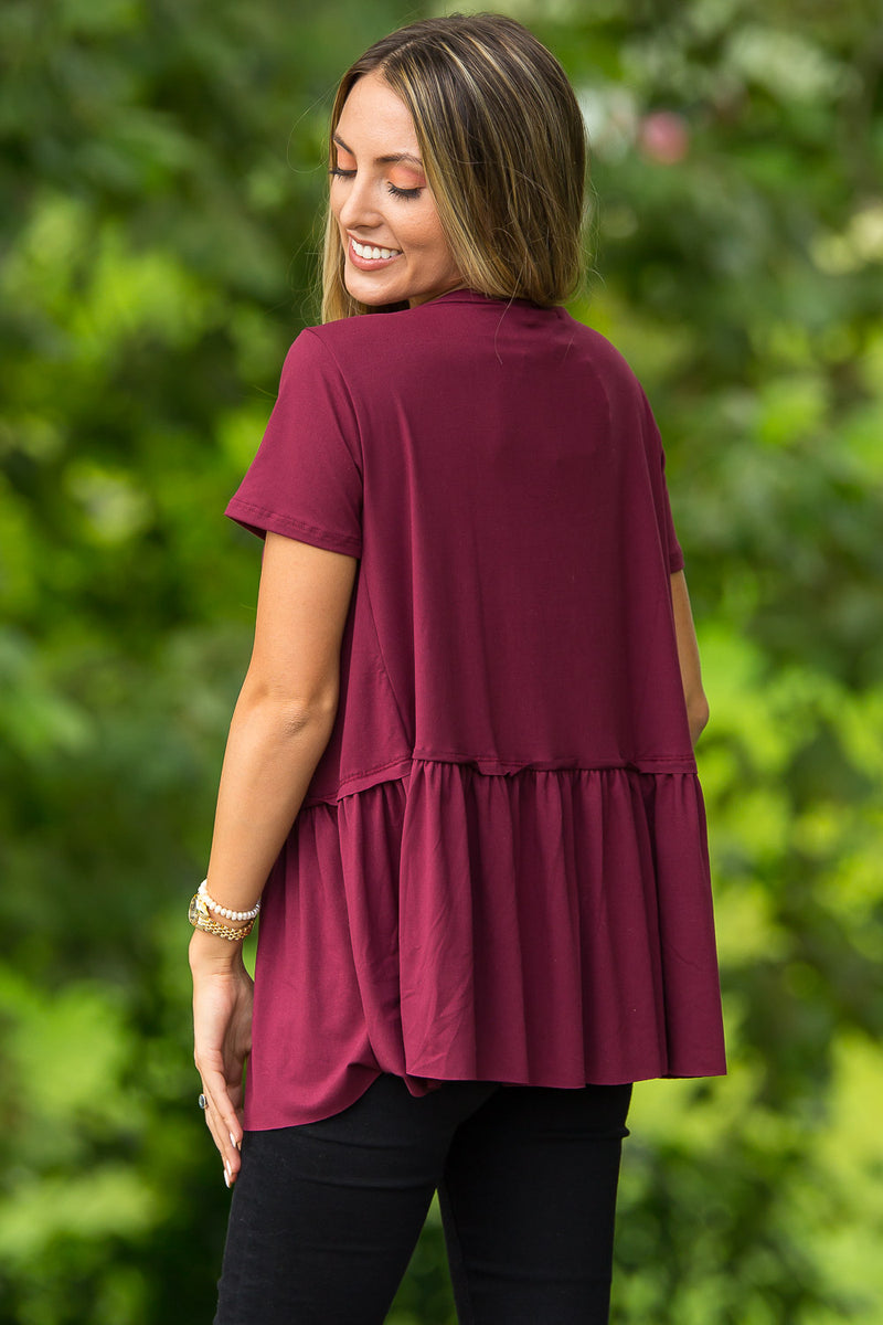 Do The Swing Short Sleeve Top-Dark Wine