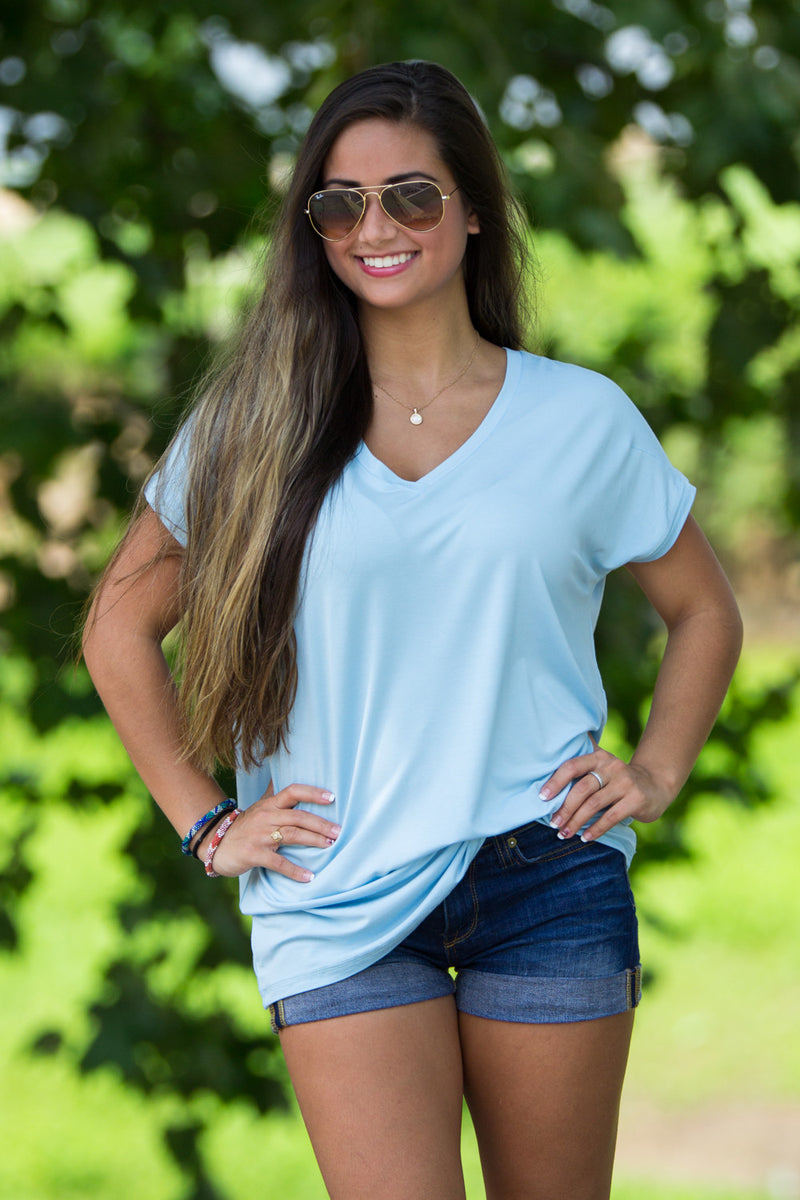 The Perfect Piko Rolled Short Sleeve V-Neck Top-Aquamarine