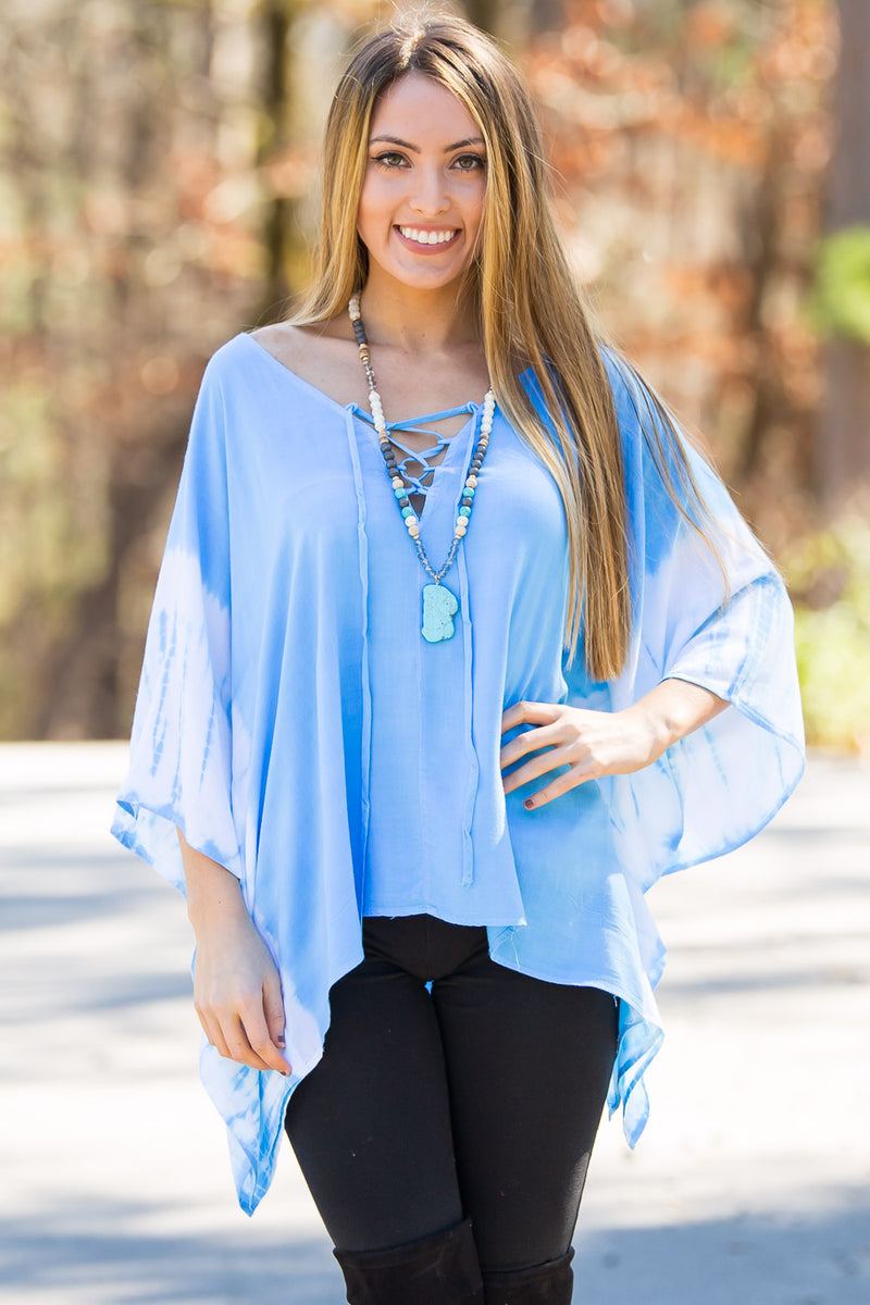 Smell The Roses-Noel Poncho Top-Turquoise