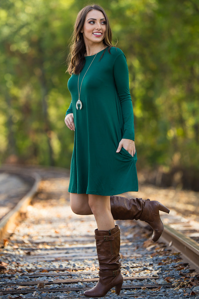 The Perfect Piko Long Sleeve Swing Dress-Forest Green