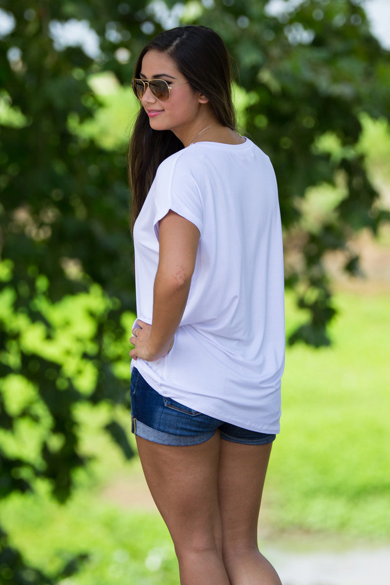 The Perfect Piko Rolled Short Sleeve Top-White