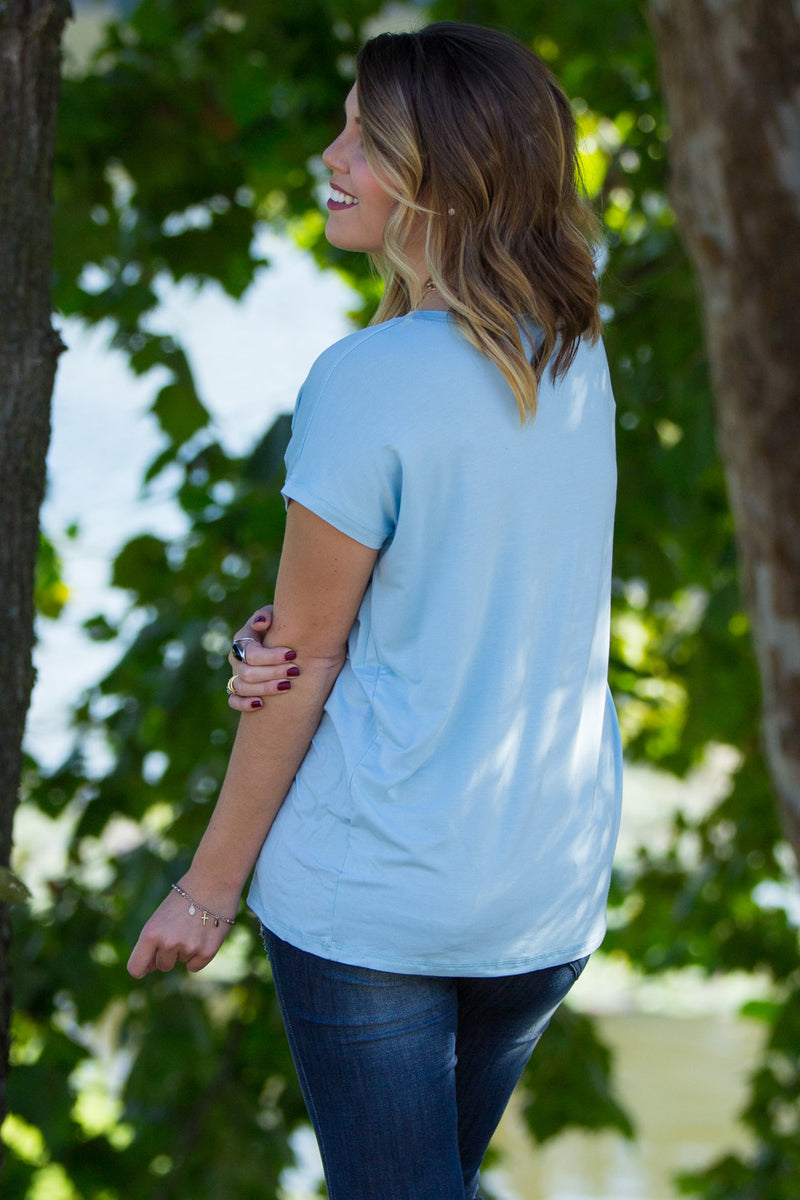 The Perfect Piko Rolled Short Sleeve Top-Aquamarine