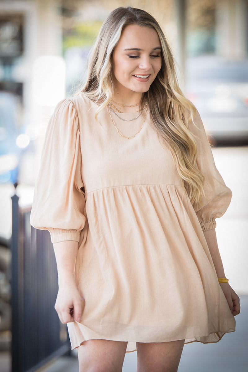 Top Tier Babydoll Dress - Taupe