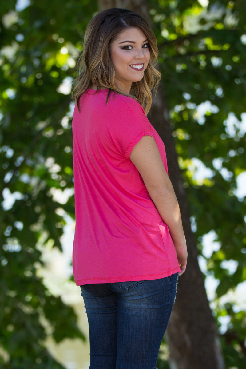 The Perfect Piko Rolled Short Sleeve Top-Hot Pink