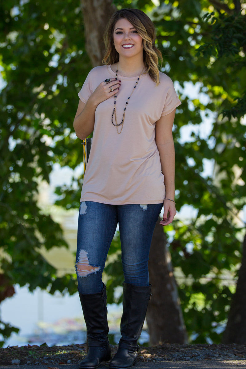 The Perfect Piko Rolled Short Sleeve Top-Toasted Almond
