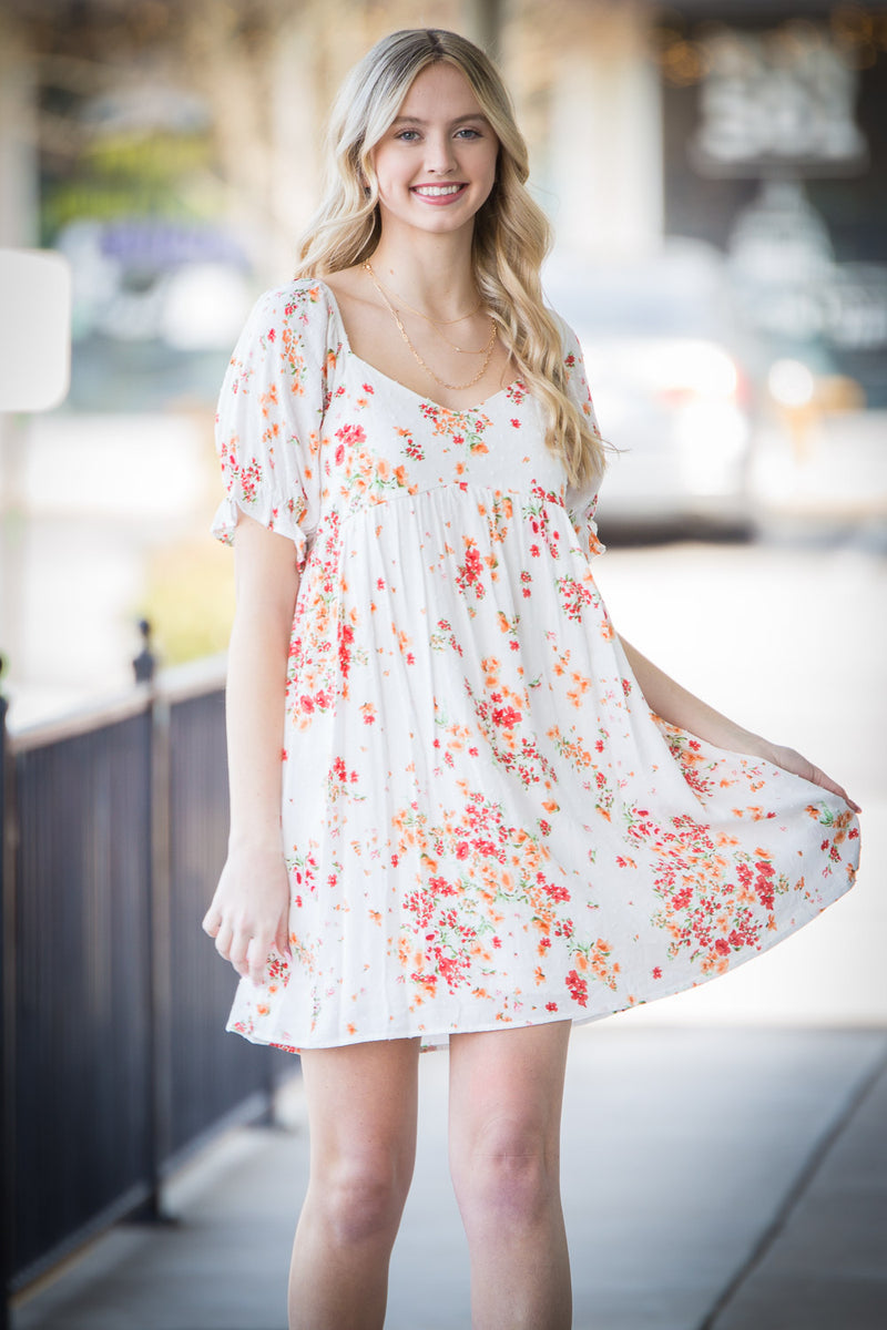 See You Coming Dress - Coral/Ivory