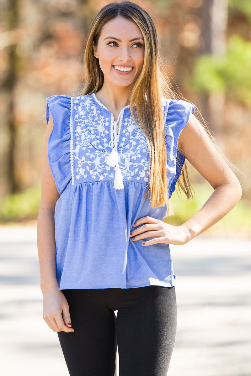 Buddy Love- Cruz Top-Blue