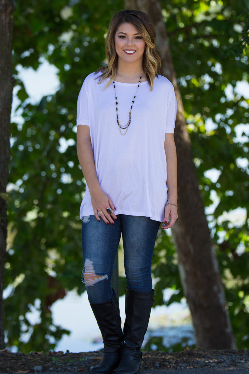 The Perfect Piko Short Sleeve Top-White
