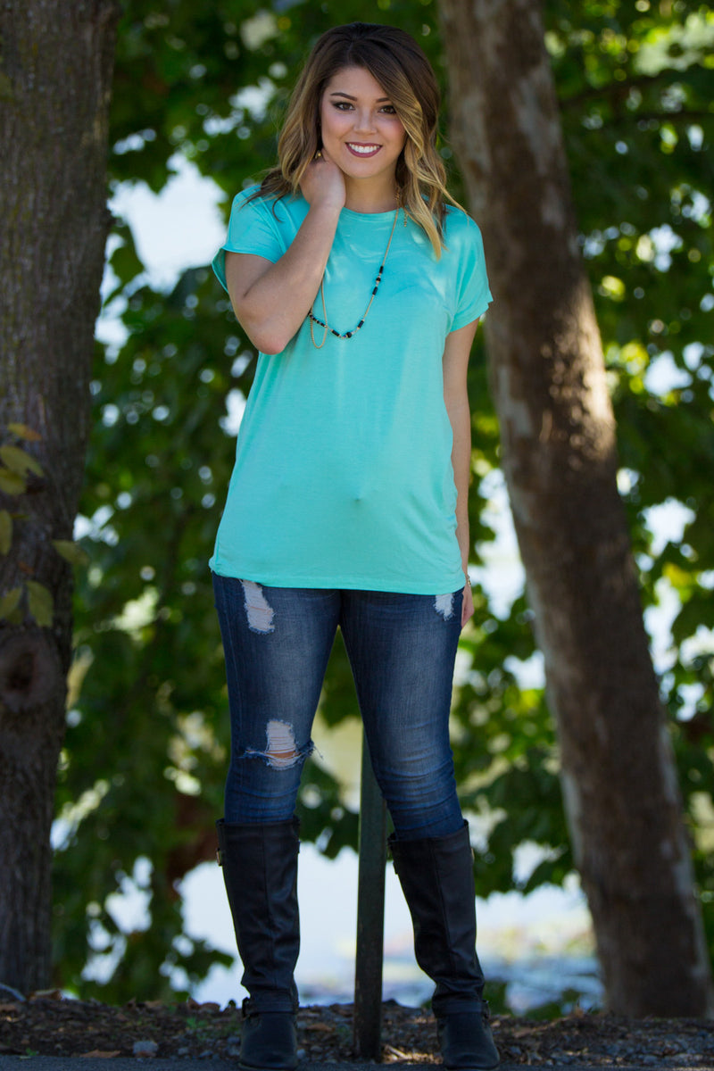 The Perfect Piko Rolled Short Sleeve Top-Lucite Green