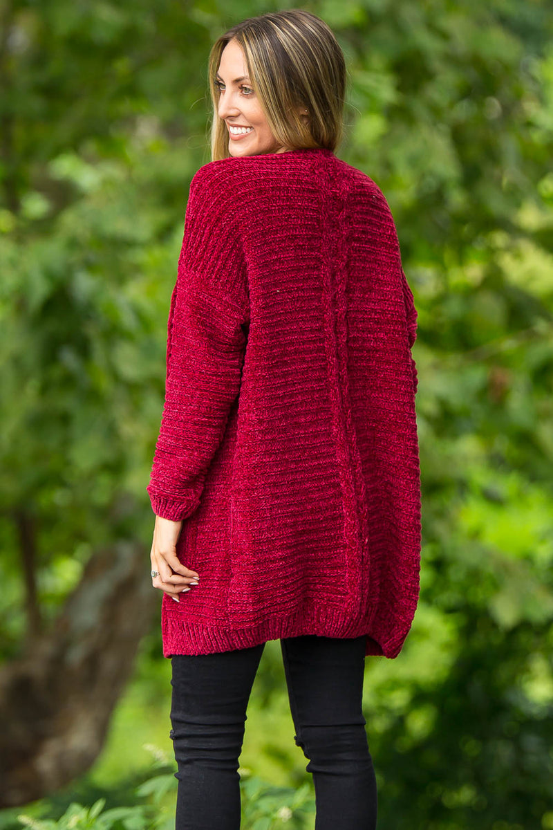 Snuggle With Me Sweater-Burgundy