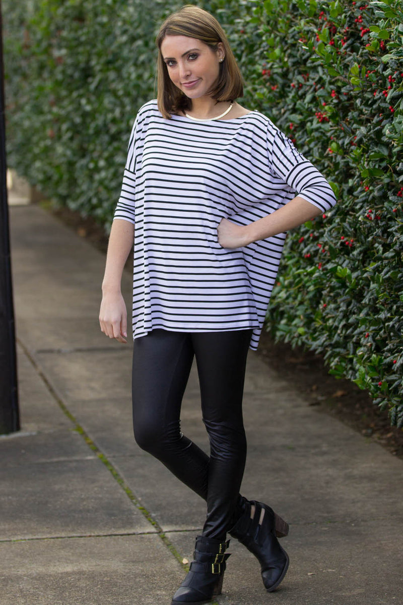 The Perfect Piko 3/4 Sleeve Tiny Stripe Top-White/Black
