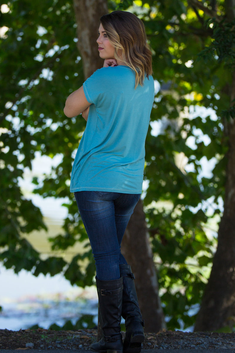 The Perfect Piko Rolled Short Sleeve Top-Light Teal