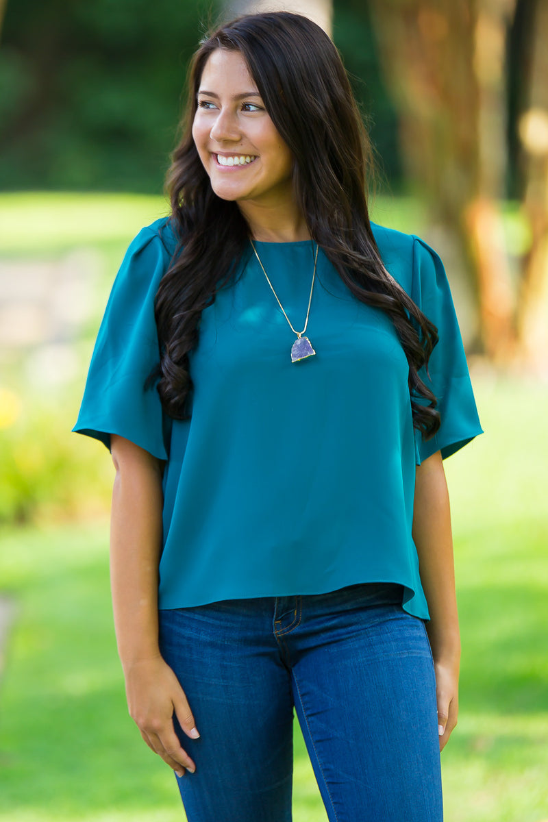 SALE-One Last Wish Top-Forest Green