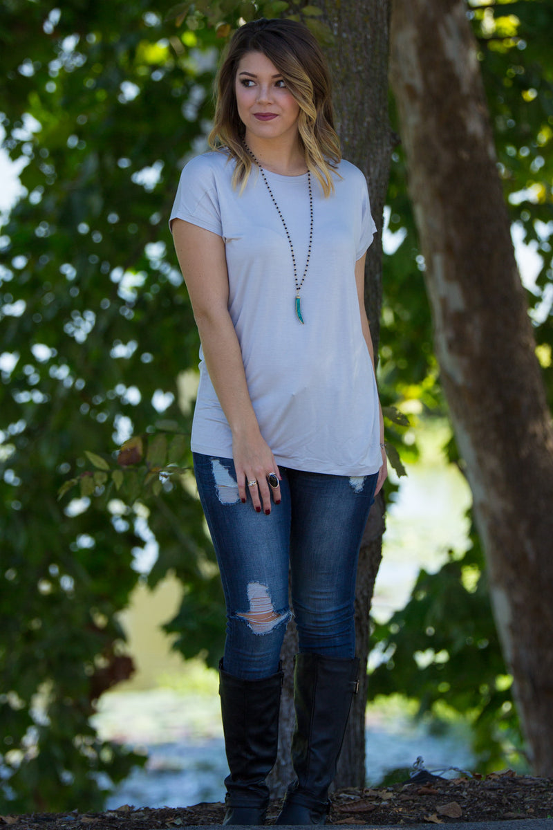 The Perfect Piko Rolled Short Sleeve Top-Glacier Grey